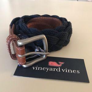 Vineyard Vines Braided Navy Blue Belt